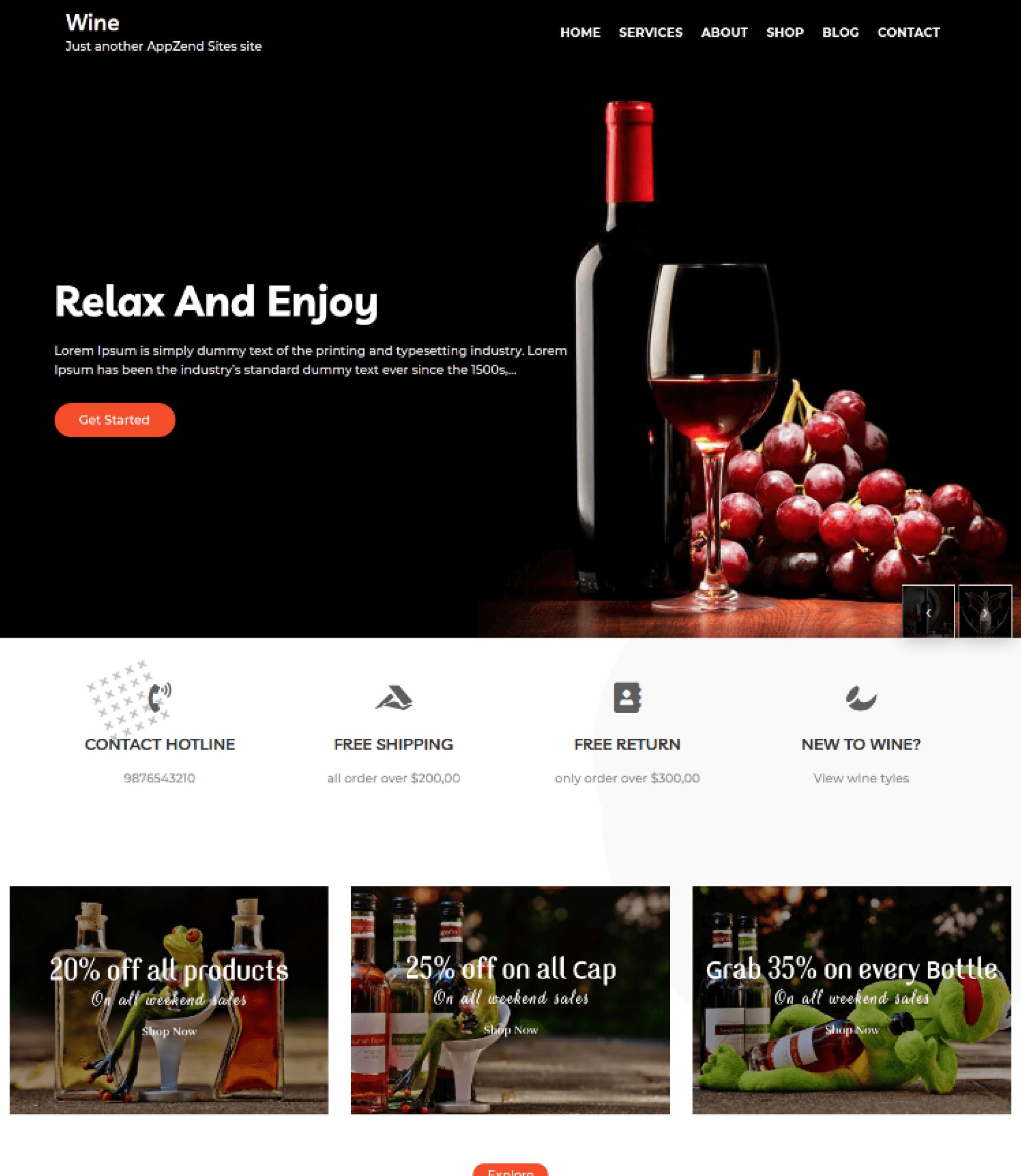 Wine - AppZend - Sparkle Themes - sparklewpthemes