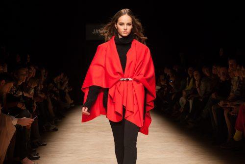 Beautiful Model Ramp Walking Wearing Long Red Dress
